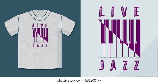 Live Jazz Calligraphy Illusion Logo Lettering and Piano Keys Composition with Application Example on T-Shirt Vector Template - Purple Elements on Heather Grey Background - Yin Yang Graphic Design