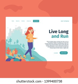 LIVE LONG AND RUN, perfect for landing page, web header, feature, presentation, etc. suitable for Sport and Gymnastic Education, Webinar Healthy and many more