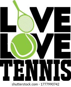 Live Love Tennis quote. Tennis ball, tennis racket vector
