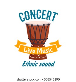 Live music ethnic concert emblem. Vector musical instrument of traditional african folk talking drum, ethnic conga drum, percussion tambourine. Music fest design with yellow brown ribbon sticker