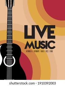 live music festival lettering poster with guitar acoustic vector illustration design