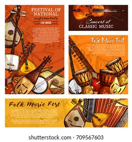 Live music festival or national and ethnic folk musical instruments posters and banners templates. Vector set of jazz saxophone, accordion or jembe drums and fiddle violin, banjo guitar or balalaika