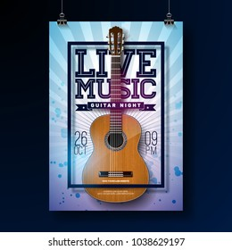 Live music flyer design with acoustic guitar on grunge background . Vector illustration.