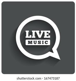 Live music icon. Speech bubble label. Karaoke symbol. Restaurant flat icon. Vector illustration.