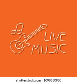 Live music icon, vector illustration design. Neon logo collection.