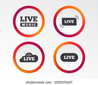 Live music icons. Karaoke or On air stream symbols. Cloud sign. Infographic design buttons. Circle templates. Vector
