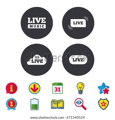 Live Music Icons Karaoke On Air Stock Vector (Royalty Free
