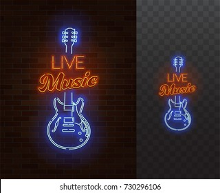 Live Music Neon Sign. Guitar with caption. Realistic vector illustration. Party poster. Transparent background.