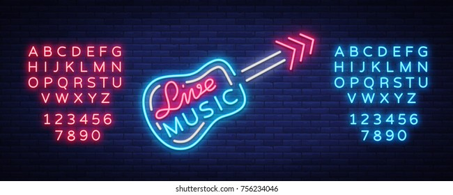 Live music neon sign vector, poster, emblem for live music festival, music bars, karaoke, night clubs. Template for flyers, banners, invitations, brochures and covers. Editing text neon sign.