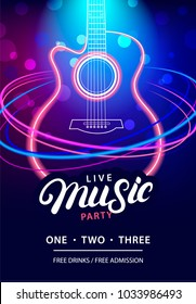 Live Music Party design template with text, neon guitar silhouette and speed movement lights. Use for flyer, banner, poster, invitation. Retro vintage style. Vector illustration.