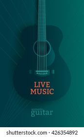 Live music poster design template. Acoustic guitar vector illustration.