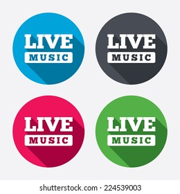 Live music sign icon. Karaoke symbol. Circle buttons with long shadow. 4 icons set. Vector
