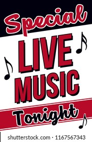 Live Music Tonight Retro Sign for Restaurants and Bars, Vintage Sign Painter Layout for Live Music Venue Posters, 16x23 Jazz Advertising Signage for Special Events, Stylish Wall Art and Decor, Ad