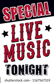 Live Music Tonight Sign for Restaurants and Bars, Vintage Country Music / Western Layout for Live Shows & Venue Posters, 16x23 Advertising Signage for Special Events, Wall Art and Decor, Rock Show