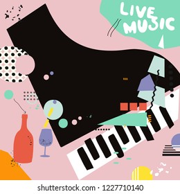 Live music and wine background flat vector illustration. Party flyer, music club, wine tasting event, wine festival and celebrations poster for brochure, invitation card, promotion banner, menu
