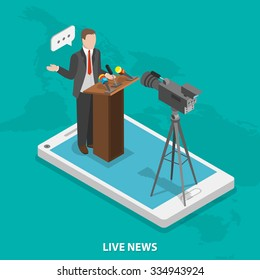 Live news flat isometric vector concept. A speaker near podium with microphones and camera on smartphone.