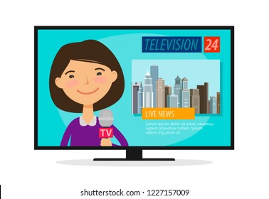 Live news. Young woman, newscaster with microphone in hand. TV, television concept. Cartoon vector illustration