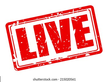 Live red stamp text on white