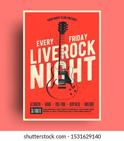 Live Rock Night Poster. Live music promotion flyer design template with black guitar silhouette on red background, poster for you live music event or concert promotion. Vector illustration.