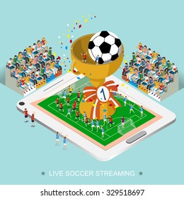 live soccer streaming concept in 3d isometric flat design