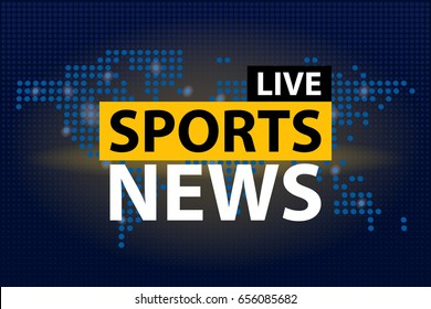 Live Sports News headline in blue dotted world map background. Vector illustration.