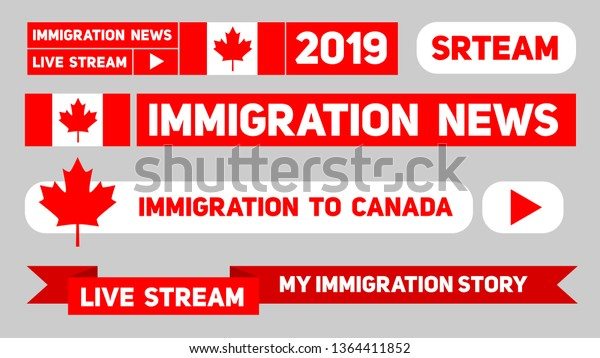 Live Stream About Immigration Canada Flat Stock Vector