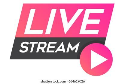 Live stream badge modern vector
