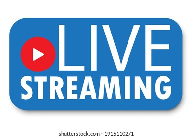 Live stream blue banner. Live video streaming. Template media player. Internet broadcast. Stock image. EPS 10.