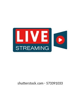Live stream in camera shape concept. Stock vector illustration for online broadcast, tv program