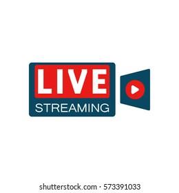 Live stream in camera shape concept. Stock vector illustration for online broadcast, tv program