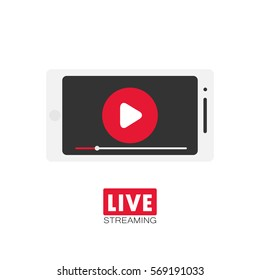 Live stream concept. Stock vector illustration with play emblem in red circle on smartphone screen for online broadcast, tv program