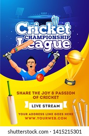 Live Stream Cricket Championship League poster or flyer design. Illustration of batsman in winning pose on yellow and blue color background.