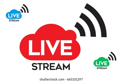 Live Stream icon, badge. Online streaming logo vector.
