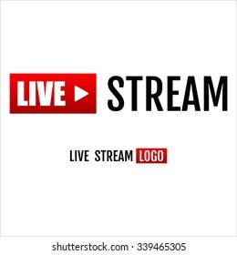 Live stream icon, emblem, logo.