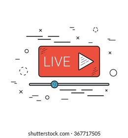 Live stream icon, emblem, logo. Flat linear style.