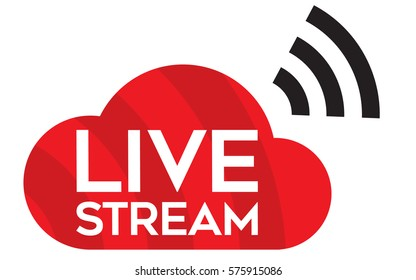 Live stream icon. Vector logo, button for TV, internet or online streaming.