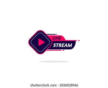 Live Stream Logo. Element for broadcasting or online tv live streaming. Video stream icons.