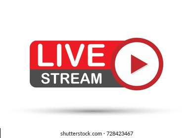 Live stream logo - red vector design element with play button. Vector stock illustration