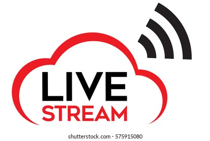 "Live stream logo vector. Vector with text ""Live Stream"" a cloud shape and a signal wave sign."