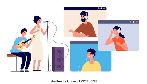 Live stream. Music streaming, online event or musical blogger. Modern video party entertainment, dj singer and audience on screen utter vector concept