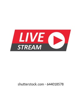 Live Stream sign, emblem, logo. Vector Illustration