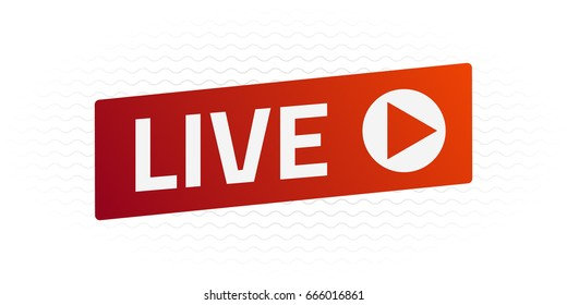 Live Stream sign with wave. Emblem, logo, badge. Color gradient. Flat design. Template for citybanner, website, design, cover, infographics. White background. Illustration. Eps10.