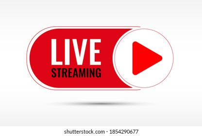 Live Stream or live streaming symbol icon with play button in red isolated on white background vector illustration. easy to edit for broadcasting or advertising online.