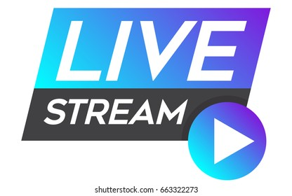 Live stream vector design element for websites or social media with play button.