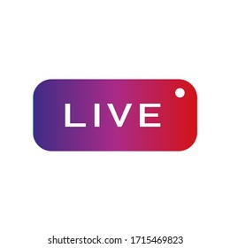 live streaming colorful square realistic isolated web button