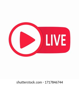 Live streaming flat icon. Template live button. Layout web button live streaming. Social media concept. Story. Blogging. Vector illustration