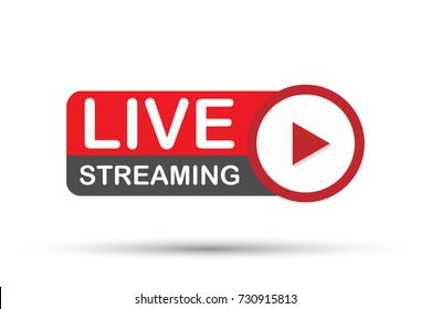 Live streaming flat logo - red vector design element with play button. Vector stock illustration