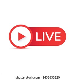 Live streaming flat vector icon. Red design element with play button for news,radio,TV or online broadcasting isolated on white background.