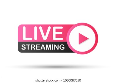 Live Streaming Icon, Badge. Vector stock illustration