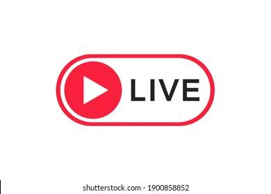 Live streaming icon. Live broadcasting button. Online stream symbol. Live stream logo. Social media. Vector illustration.
